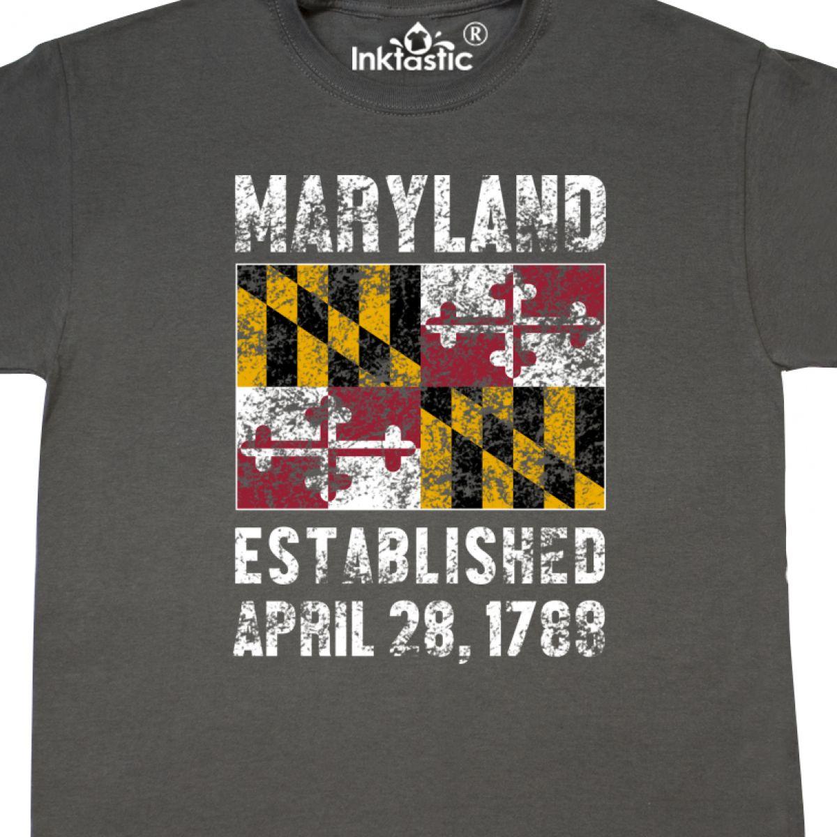 Inktastic-Established-April-28-1788-Maryland-Flag-T-Shirt-State-Home-Birthday