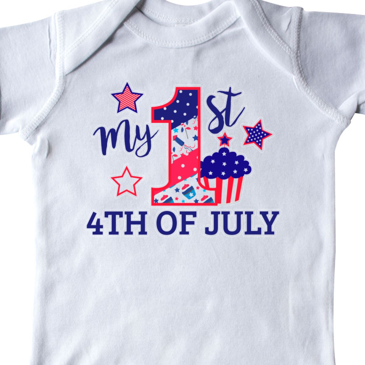 Inktastic-My-1st-4th-Of-July-With-Stars-And-Cupcake-Infant-Creeper-Fourth-Kids thumbnail 16