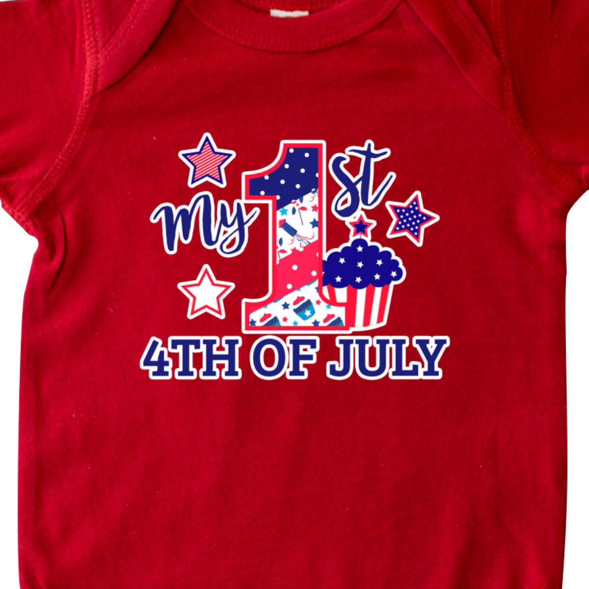 Inktastic-My-1st-4th-Of-July-With-Stars-And-Cupcake-Infant-Creeper-Fourth-Kids thumbnail 8