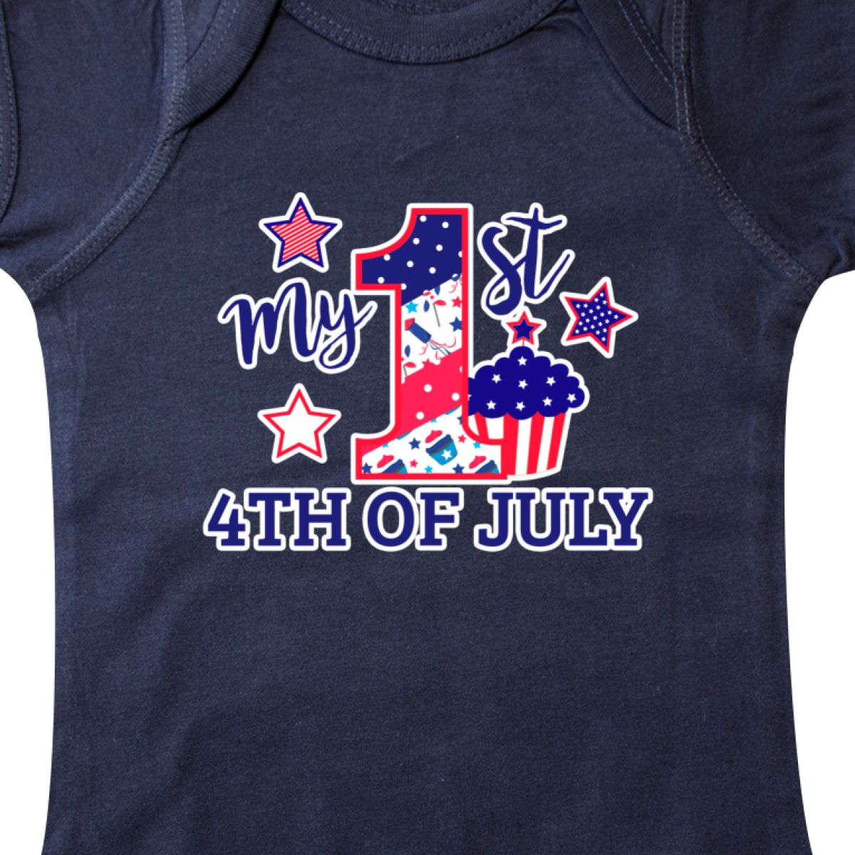 Inktastic-My-1st-4th-Of-July-With-Stars-And-Cupcake-Infant-Creeper-Fourth-Kids thumbnail 6