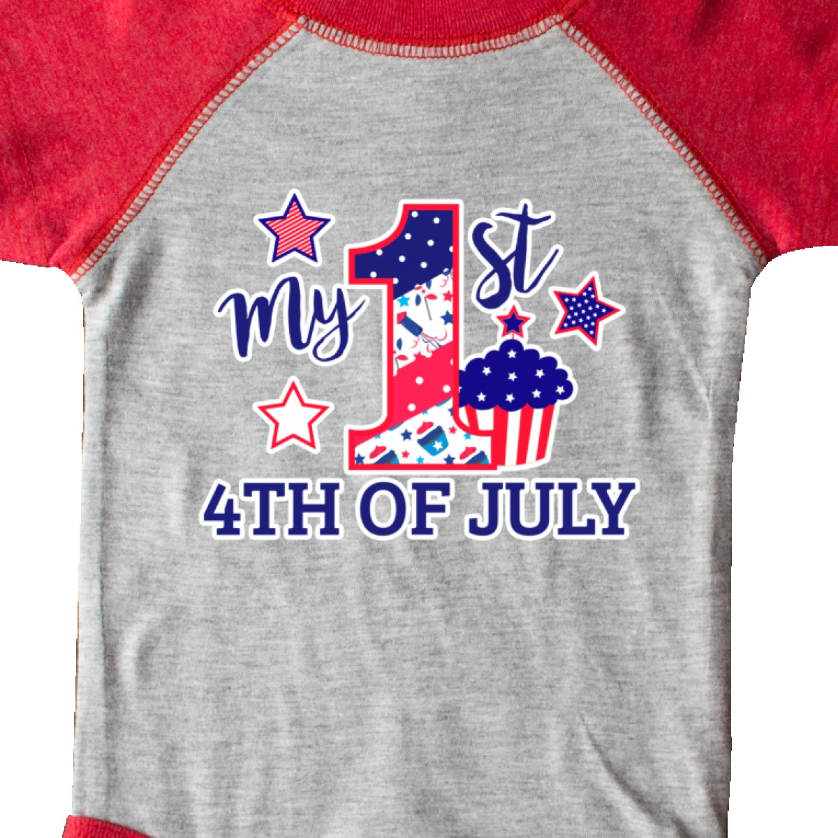Inktastic-My-1st-4th-Of-July-With-Stars-And-Cupcake-Infant-Creeper-Fourth-Kids thumbnail 4