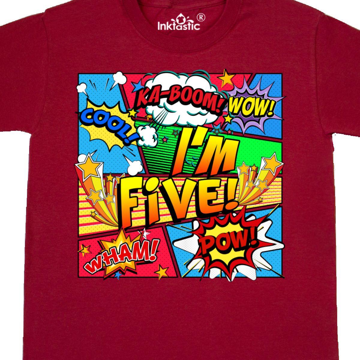a061d0eca779 Inktastic I m Five Comic Book Youth T-Shirt Superhero 5th Birthday ...