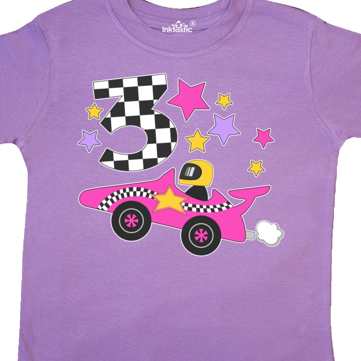 Inktastic Happy 3rd Birthday Pink Racing Car Toddler