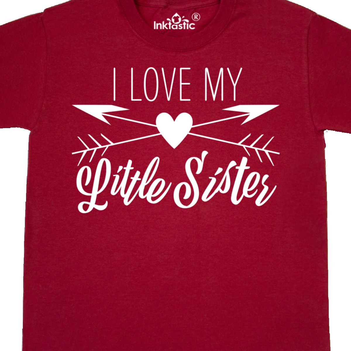 cccdd8228 Inktastic I Love My Little Sister Heart And Arrows Youth T-Shirt ...
