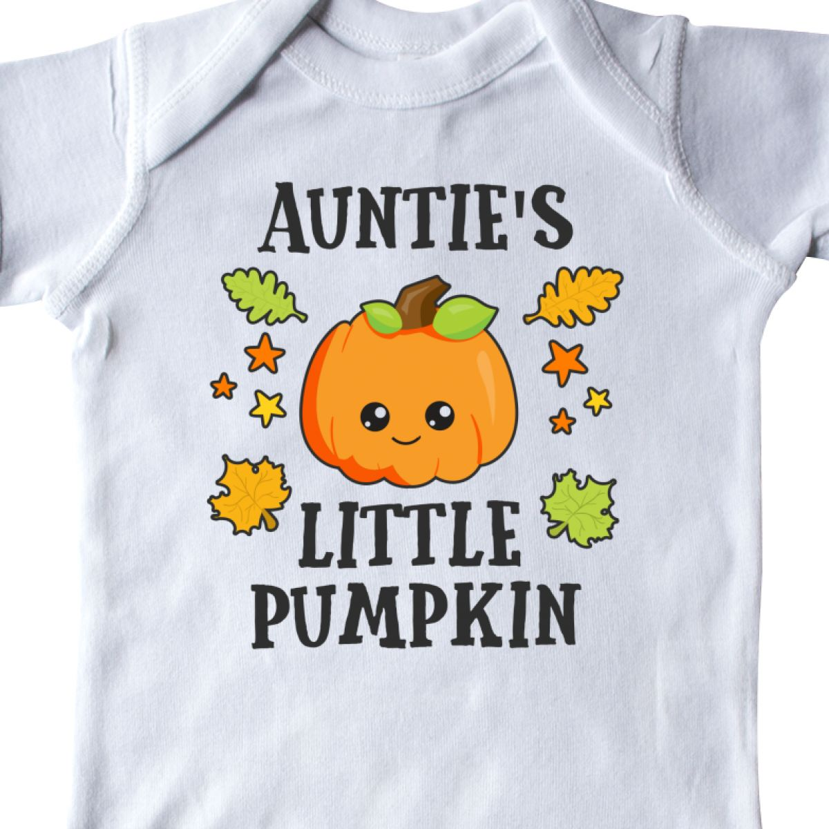 Inktastic-Aunties-Little-Pumpkin-With-Leaves-And-Stars-Infant-Creeper-Halloween thumbnail 6