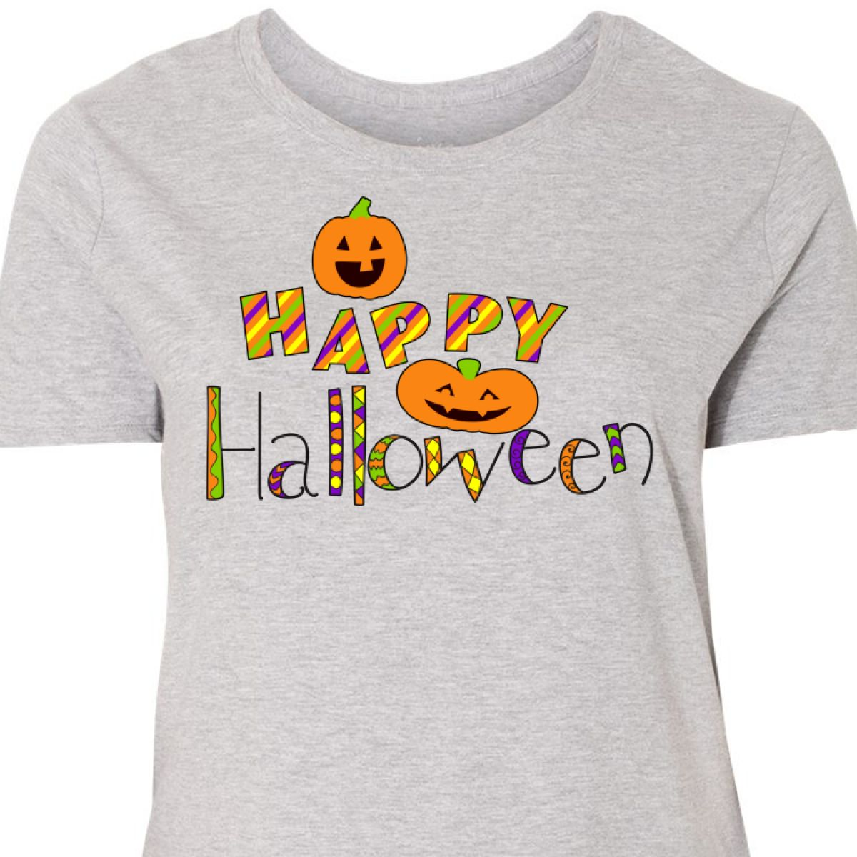 c83a05d15 Inktastic Happy Halloween- Decorated Letters With Women's Plus Size ...