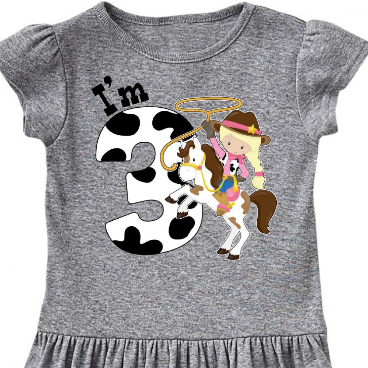 Inktastic I/'m Three-cowgirl Riding Horse Birthday Toddler T-Shirt Birthdays 3rd