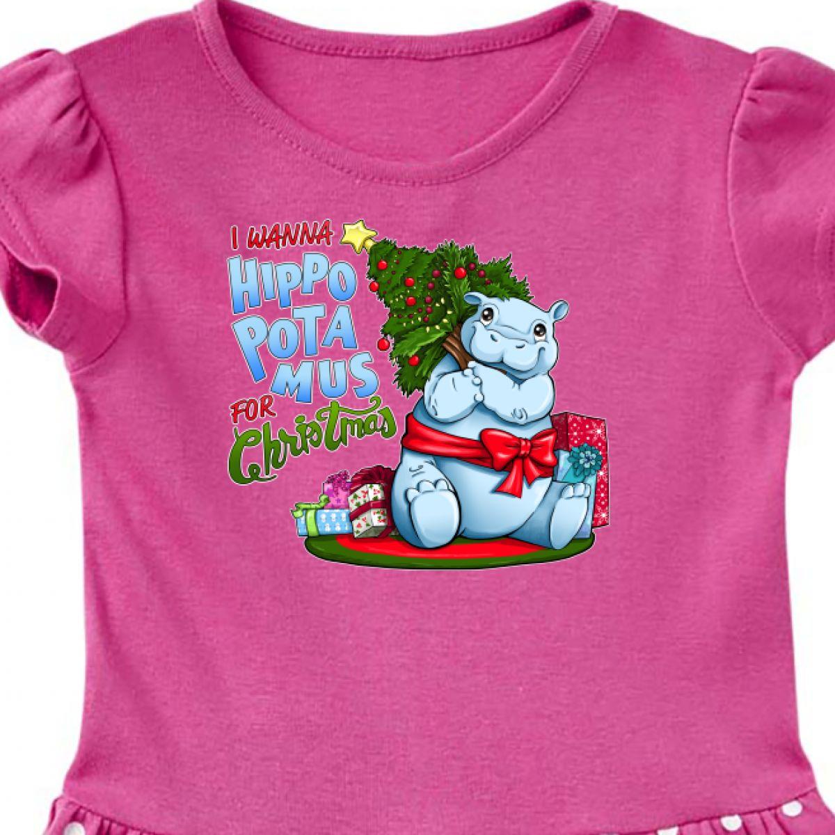 I Wanna Hippopotamus For Christmas.Details About Inktastic I Wanna Hippopotamus For Christmas Cute Hippo Toddler Dress Holiday