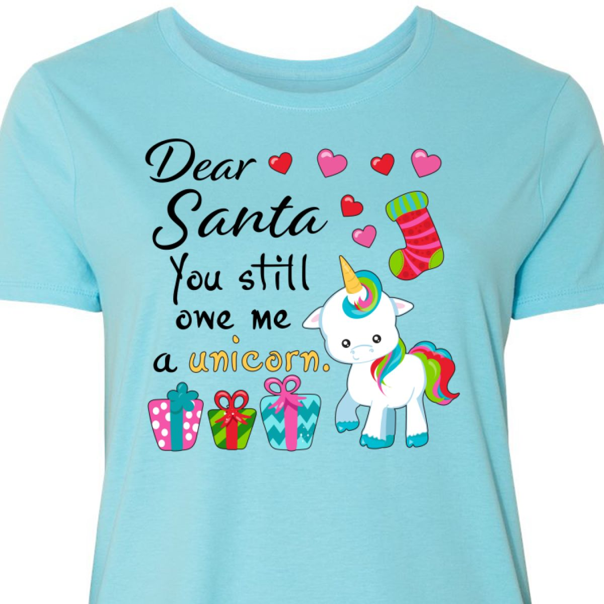 56cecba5b Inktastic Dear Santa, You Still Owe Me A Unicorn Women's Plus Size T ...