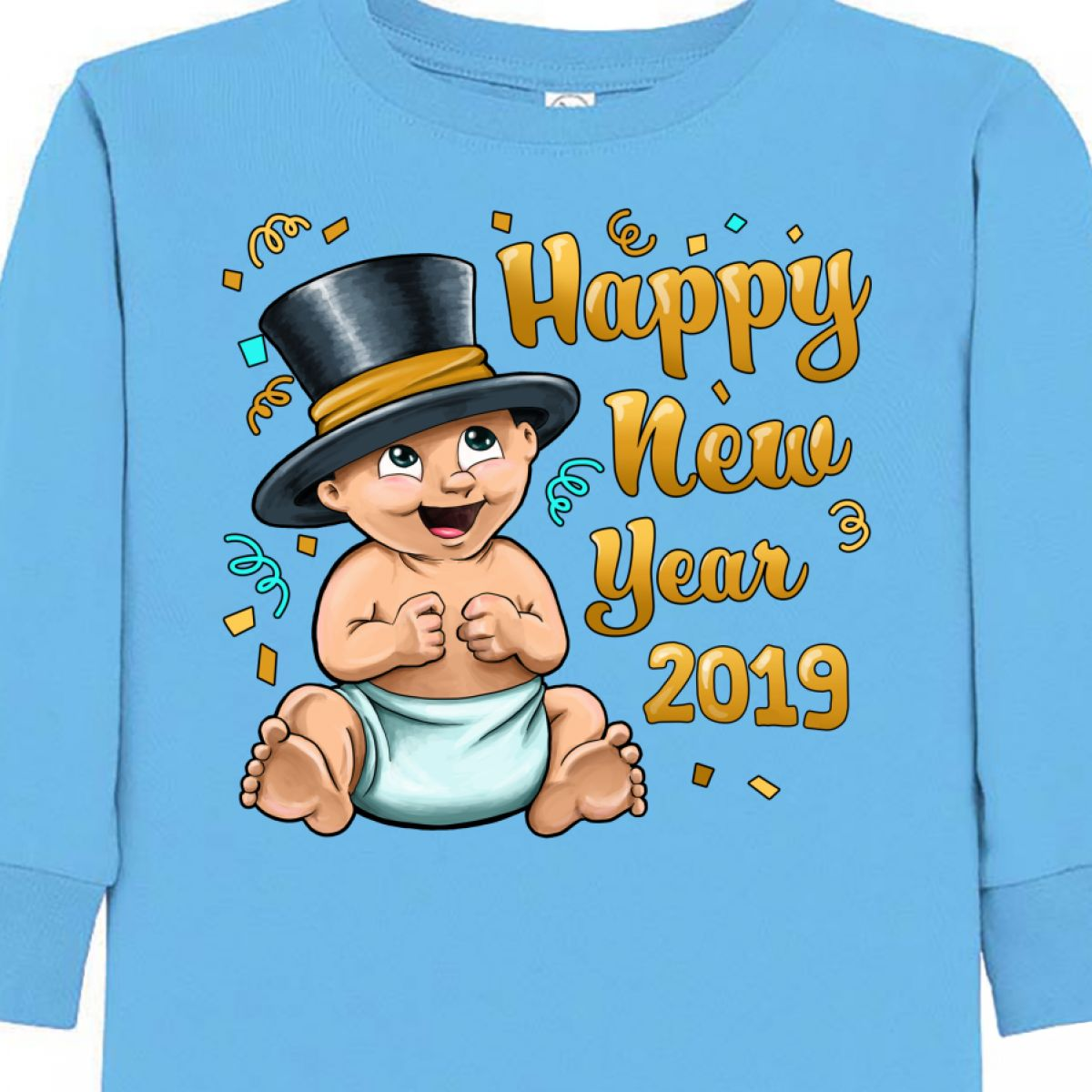 8b926e492 Inktastic Happy New Year 2019- Celebrating Baby Toddler Long Sleeve ...