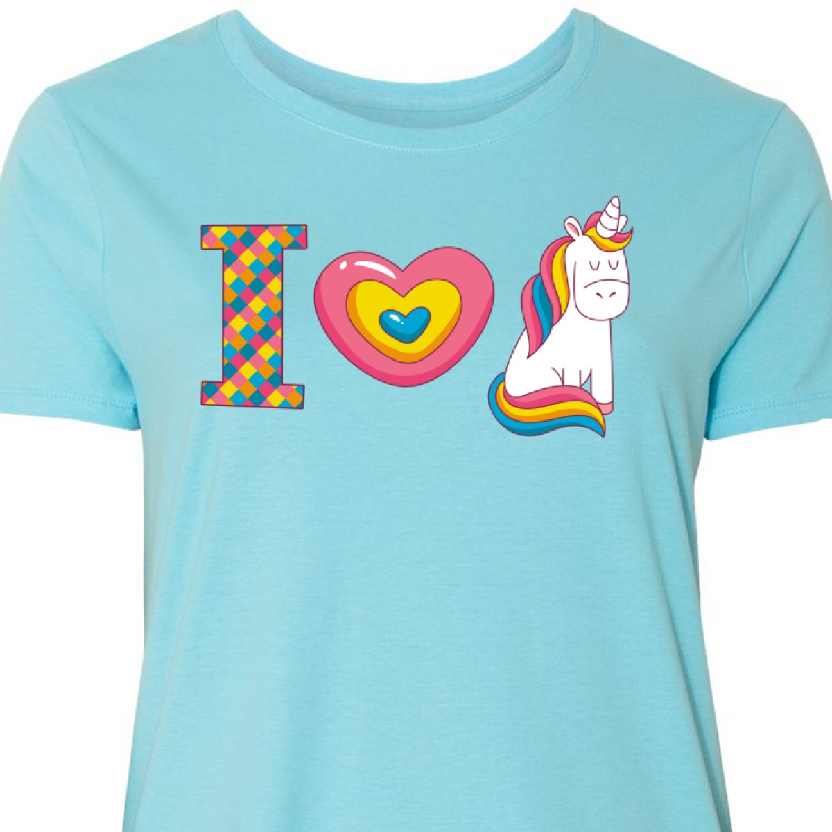 49e6df59b Inktastic I Love Unicorns Women's Plus Size T-Shirt Heart Believe In ...
