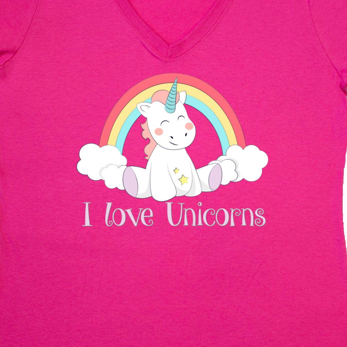 9399dd4cc27 Details about Inktastic I Love Unicorns Women s V-Neck T-Shirt Unicorn Cute  Clothing Apparel