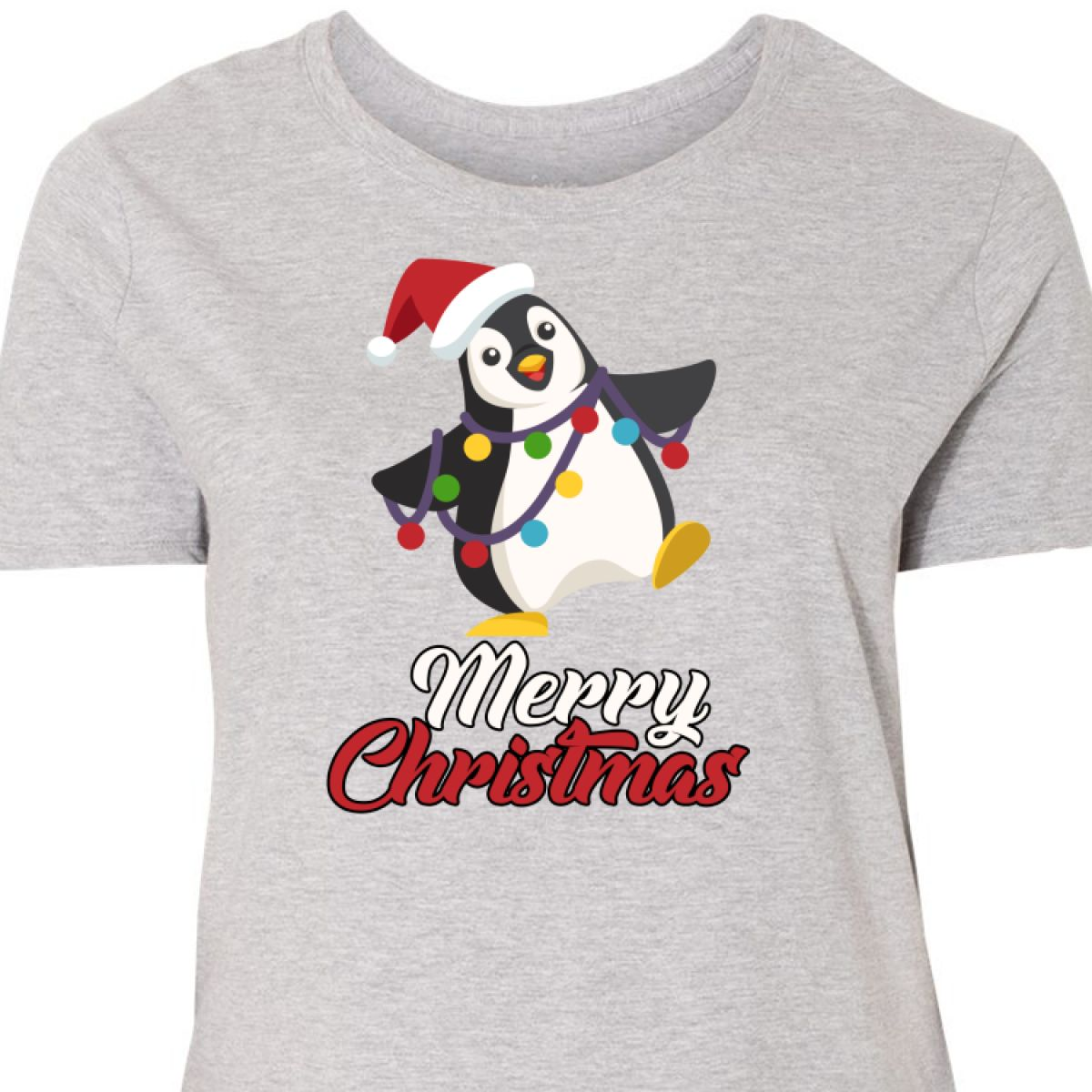 ff6368a8818 Inktastic Merry Christmas Penguin Women s Plus Size T-Shirt Xmas ...