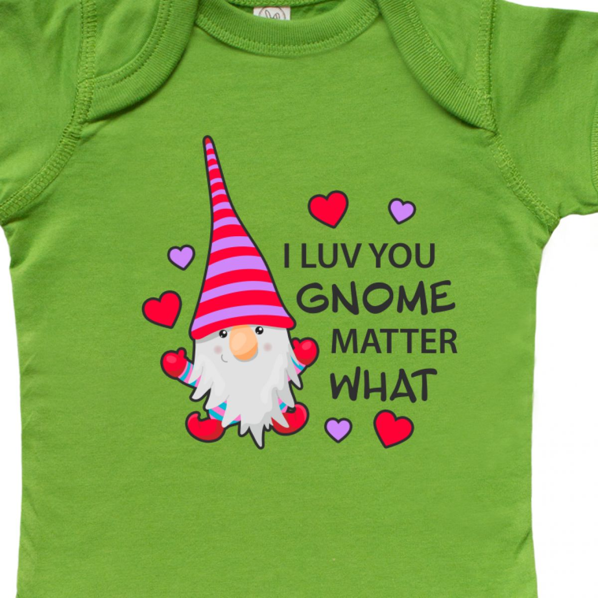 Inktastic-I-Luv-You-Gnome-Matter-What-With-Gnome-And-Hearts-Infant-Creeper-Love 縮圖 4