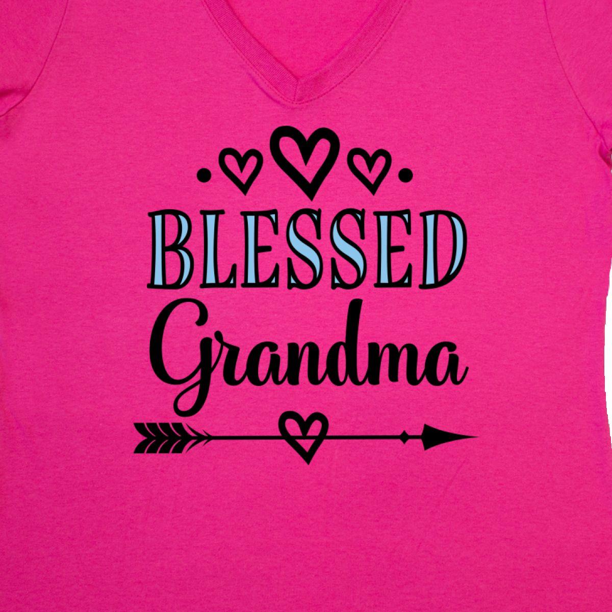 11e447dc1 Inktastic Blessed Grandma Gift Women's V-Neck T-Shirt Christian New ...