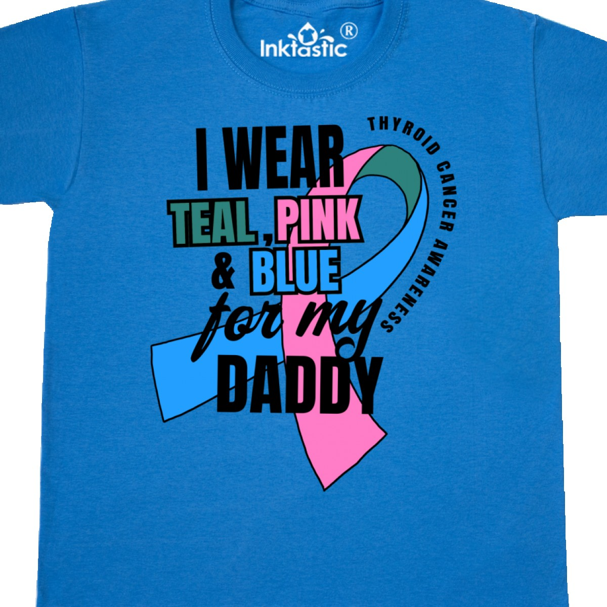 Inktastic-I-Wear-Teal-Pink-And-Blue-For-My-Daddy-Youth-T-Shirt-Awareness-Thyroid miniatuur 6