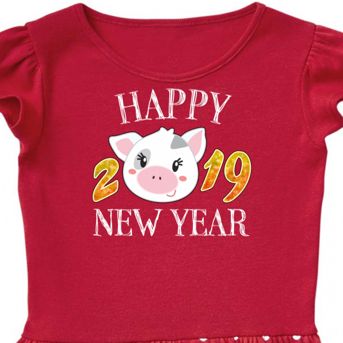 Tops Tees inktastic Happy New Year Girls Cute Pig Toddler T-Shirt