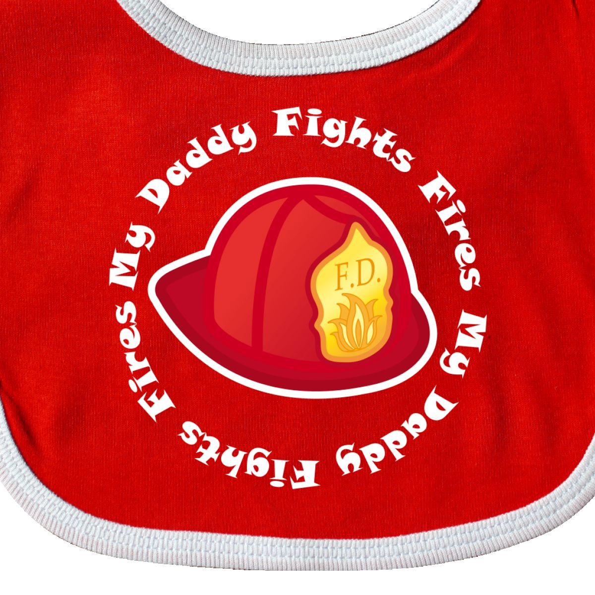 Inktastic Fireman My Dad Fights Fires Baby Bib Future Fire Hat Department Career