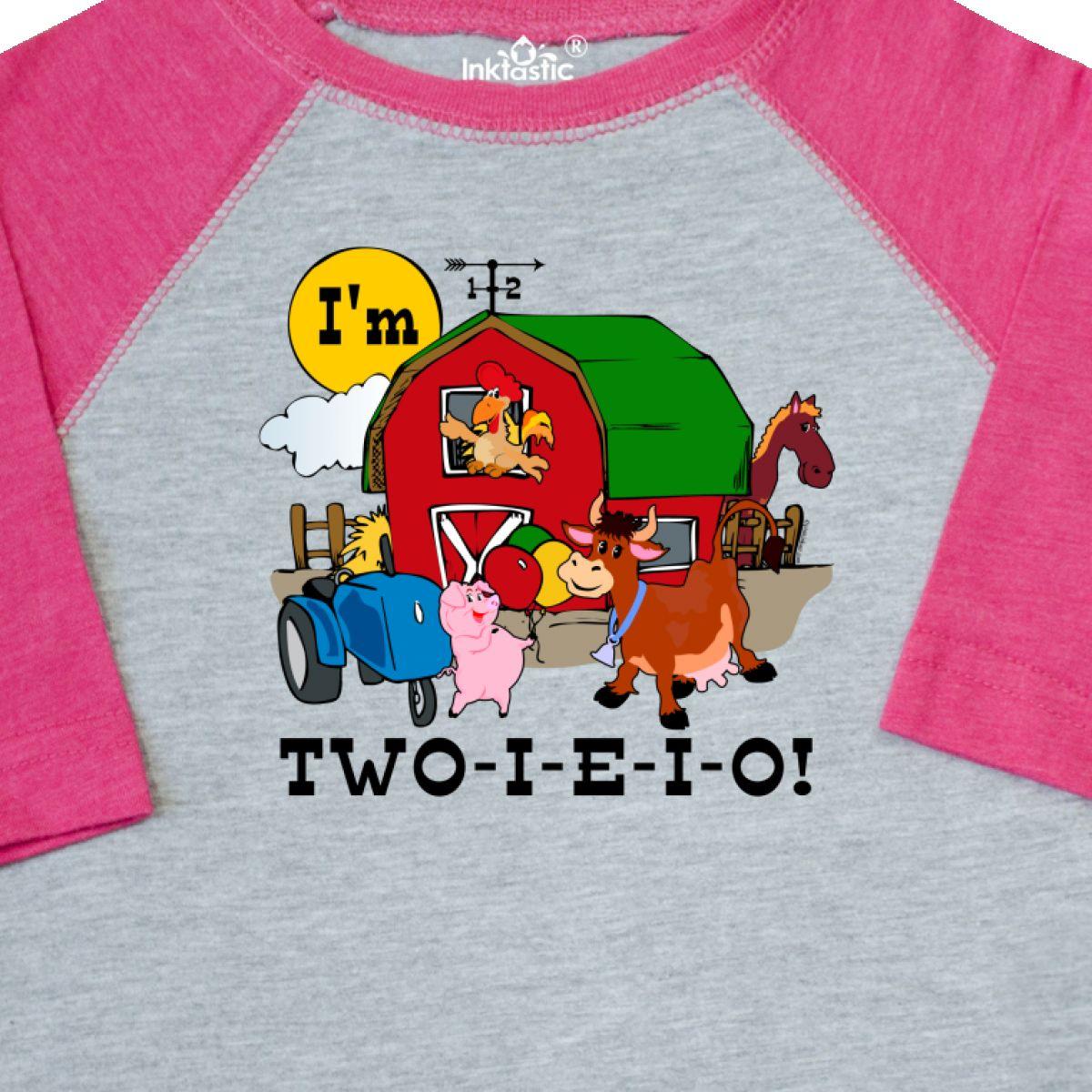 Details About Inktastic TWO I E I O Toddler T Shirt 2nd Birthday Farm Barn Cow Pig Horse Eieio