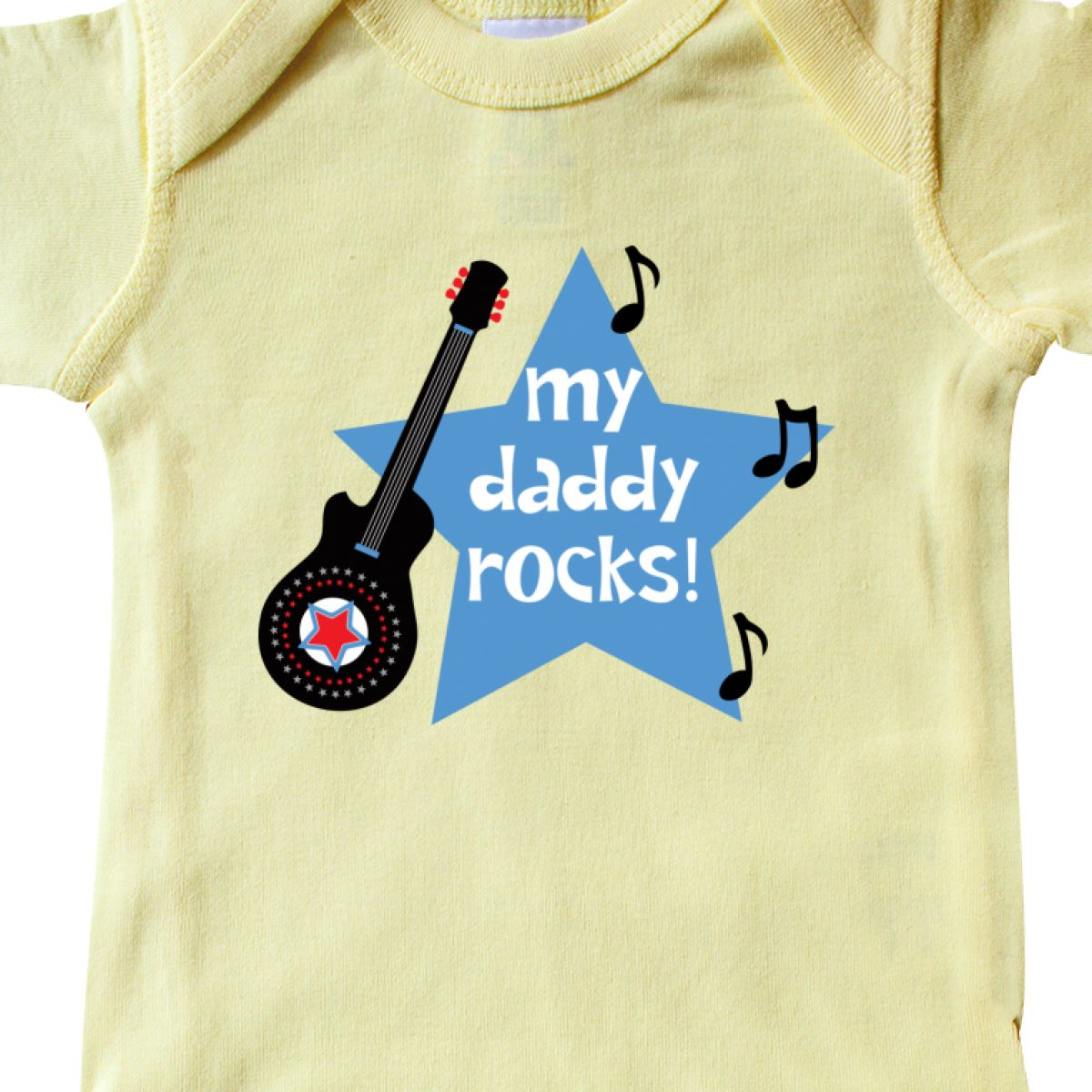 Details about Inktastic My Daddy Rocks Infant Bodysuit Guitar Music Fathers  Day Baby Gift