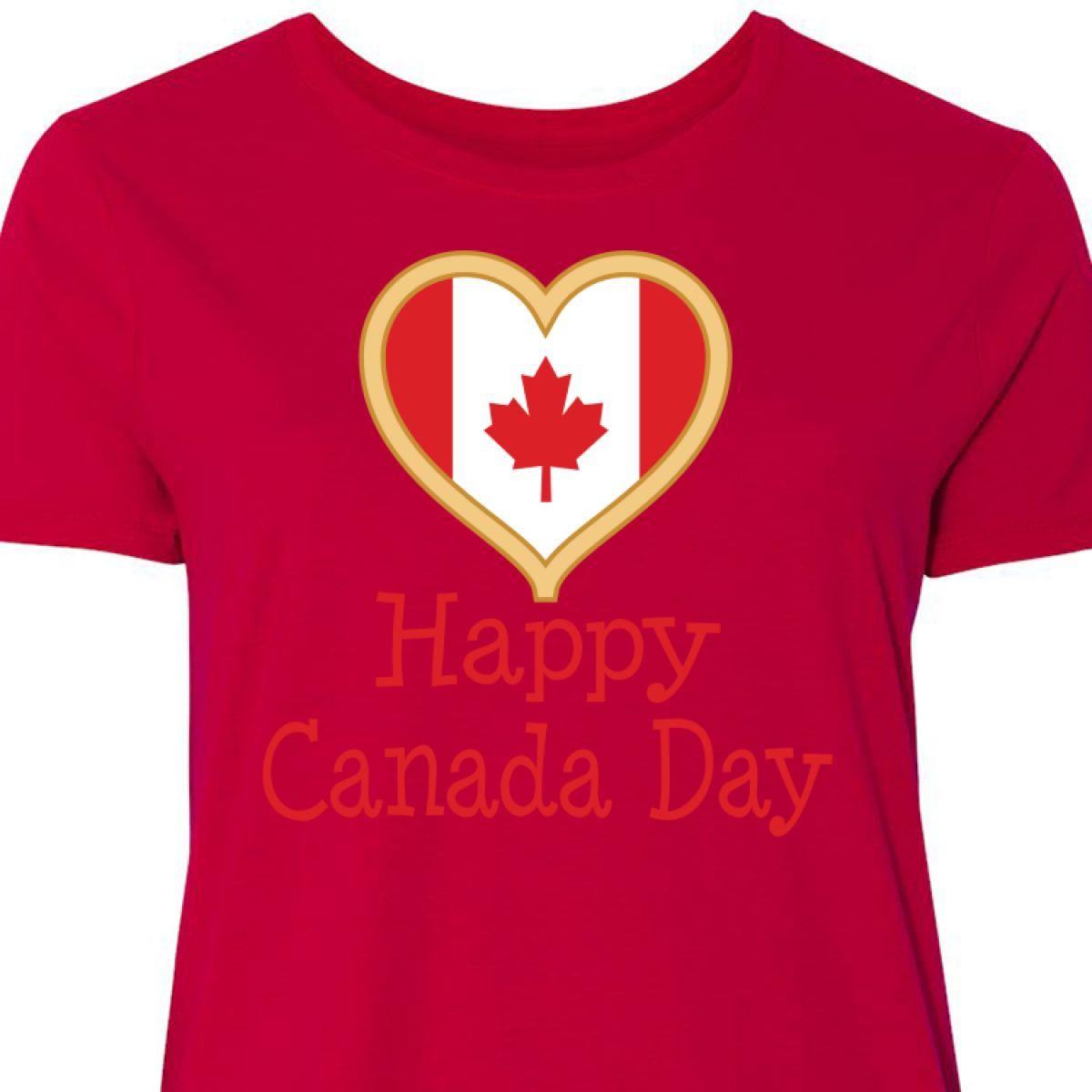 839bac814 Inktastic Happy Canada Day Women's Plus Size T-Shirt Maple Leaf ...