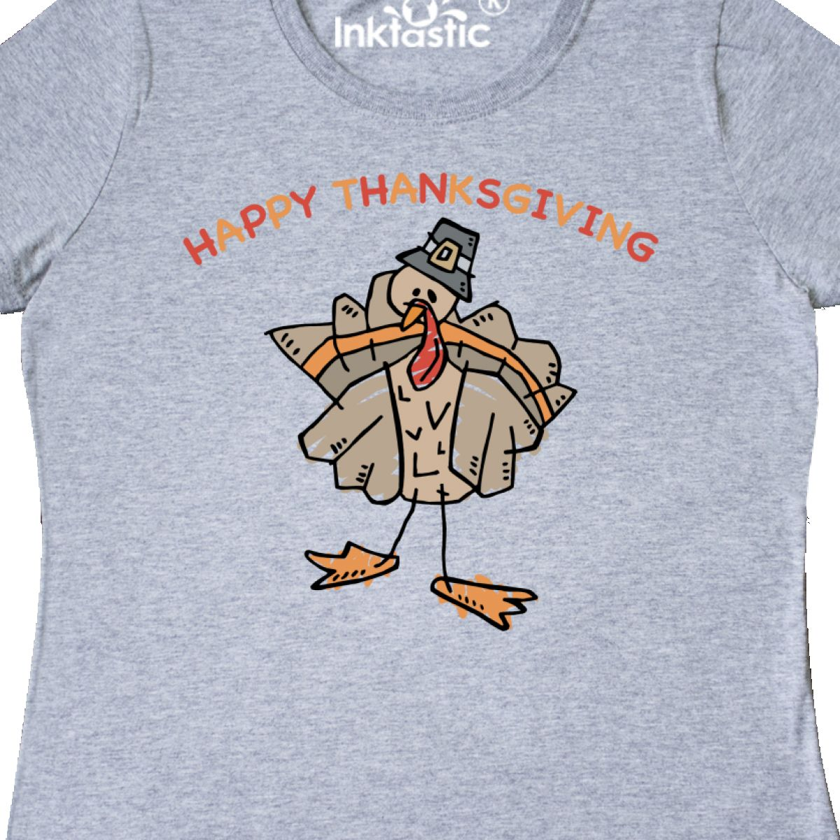 90cd5da57 Inktastic Happy Thanksgiving Women's T-Shirt Turkey Pilgrim Holiday ...