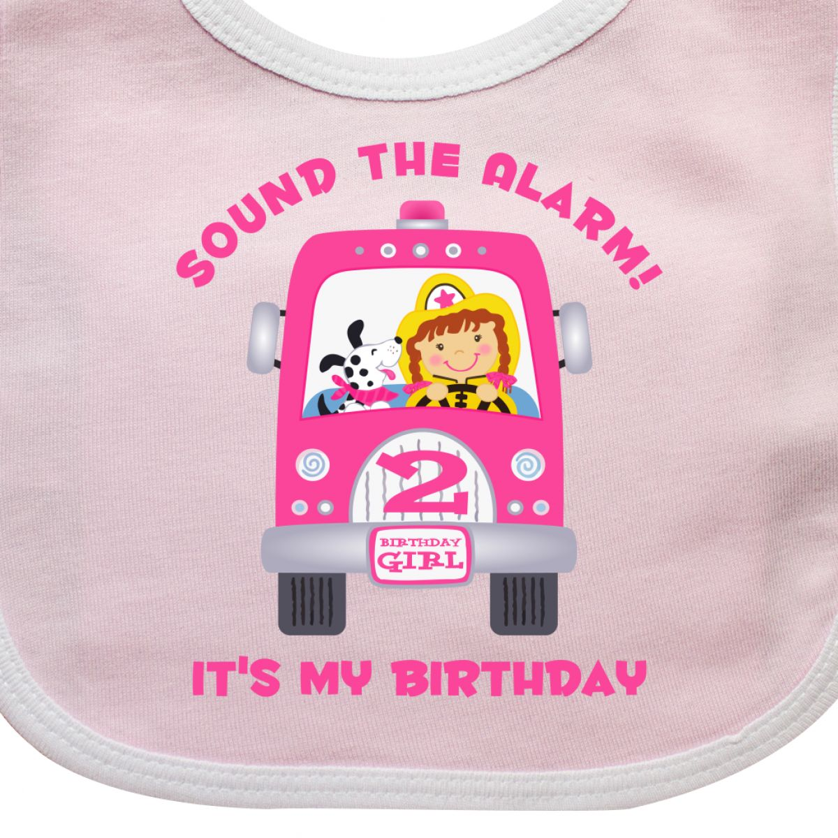 a22769a3d Inktastic Fire Truck Girl 2nd Birthday Baby Bib Engine Fighter ...