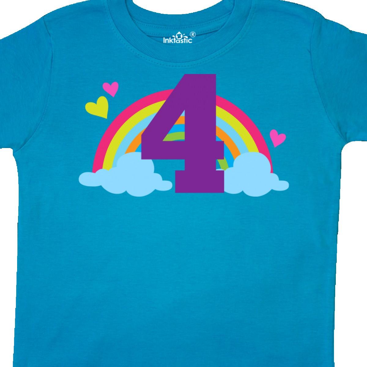 Inktastic-4th-Birthday-Rainbow-Toddler-T-Shirt-Fourth-Number-Four-Girls-Cute-Kid thumbnail 22