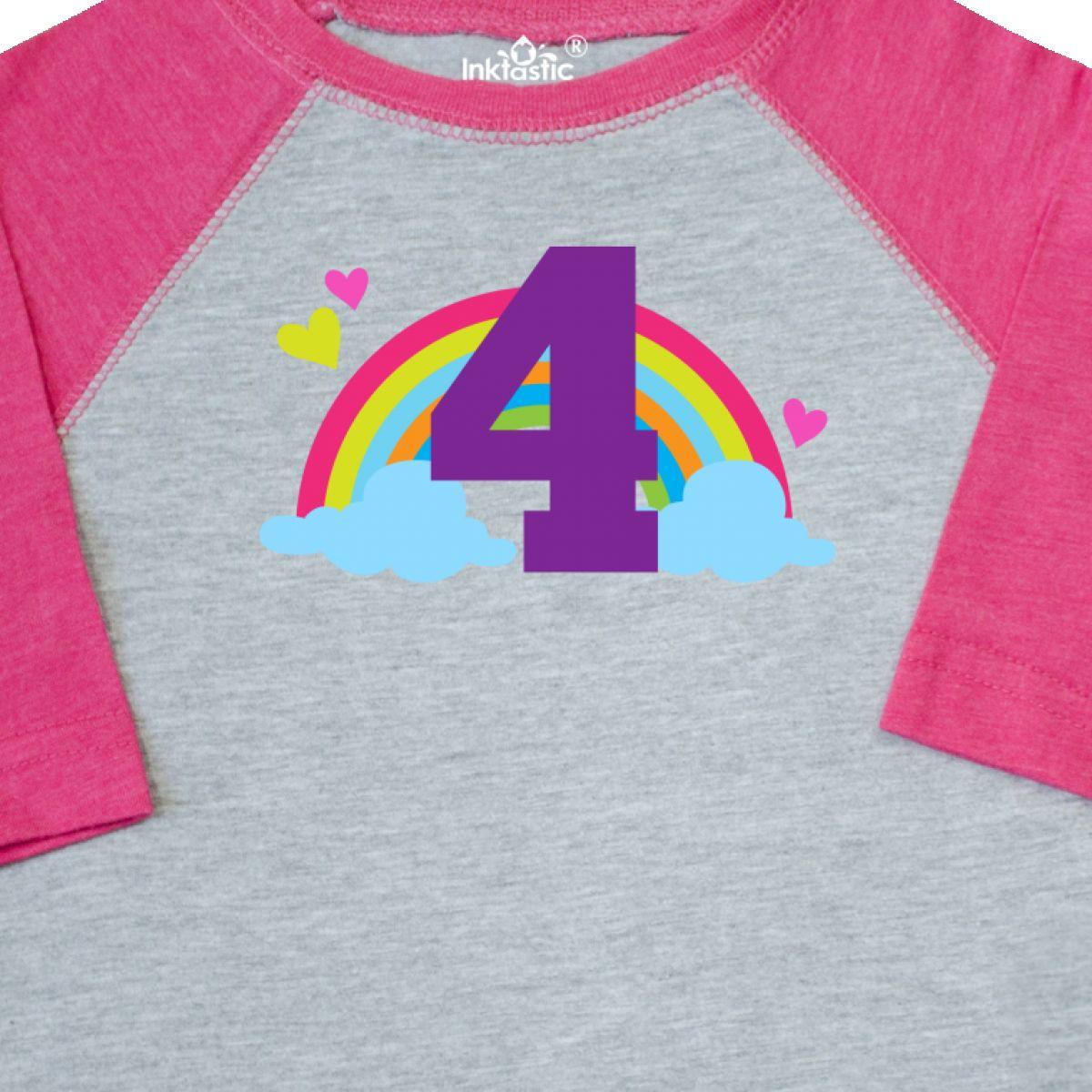 Inktastic-4th-Birthday-Rainbow-Toddler-T-Shirt-Fourth-Number-Four-Girls-Cute-Kid thumbnail 6