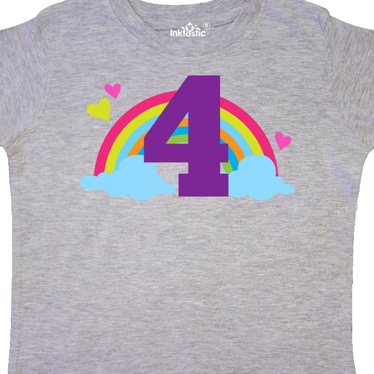 Inktastic-4th-Birthday-Rainbow-Toddler-T-Shirt-Fourth-Number-Four-Girls-Cute-Kid thumbnail 10